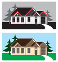 House design stylized rendering of in country setting in two different color schemes Royalty Free Stock Photography