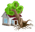 House destroyed. Tree fell on house. Cracks in walls of home. Property insurance. Royalty Free Stock Photo