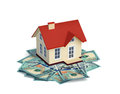 House with dollar bills on white Royalty Free Stock Photo