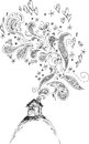 House with doodle smoke black and white butterflies hearts and doodles flying out of the chimney Stock Photo