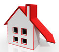House And Down Arrow Shows Property Recession Royalty Free Stock Photo