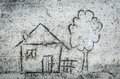 House drawing on sand close up to Stock Photo