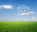 The house a dream green grass and from clouds Stock Images