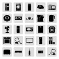 House electronics black simple vector icons set Royalty Free Stock Photo