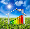 House with energy classes on green meadow and sun in blue sky Stock Images
