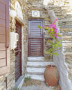 House entrance in an aegean island greece Stock Image