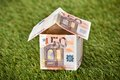House from euro money on grassy land closeup of Stock Photography