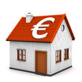 House euro a small with white symbol of white background Stock Image