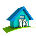 House with family happy famiy home owners group of people Royalty Free Stock Photography