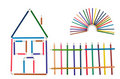 The house, fence and the sun from color pencils Stock Photography