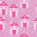 House firework spray pink bird seamless Royalty Free Stock Photo