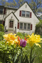 House with flowers in front garden Royalty Free Stock Image
