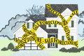 House foreclosure sale marked as with yellow caution tape Stock Photo