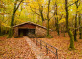 House in the forest in autumn natural park of fragas do eume galicia spain Stock Photography