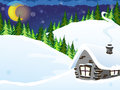 House in the forest winter coniferous winter night scene Stock Photos
