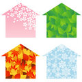 House four-seasons Royalty Free Stock Photos