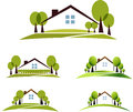 House and garden illustration collection beautiful trees lawn isolated on a white background Stock Photography