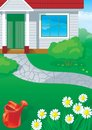 House and garden vector background of gardening red watering can flowers Royalty Free Stock Image
