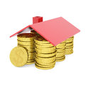 House of gold coins isolated render on a white background Royalty Free Stock Images