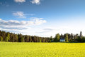 The house on a green field in a sunny day Stock Photo