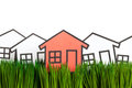 House and green grass Stock Photo