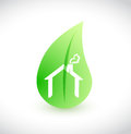 House green leaf ecological illustration Royalty Free Stock Photo