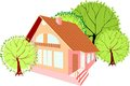 House with green trees small Stock Image