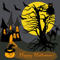 House Halloween Haunted Tree Owl Bat Pumpkin Card Royalty Free Stock Photo