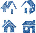 House hand drawn icon set vector illustration Stock Photography