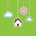 House hang sun cloud home suspend on sky Royalty Free Stock Images