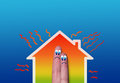 House with high heat loss illustration where two fingers inside on blue background Stock Photography