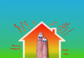 House with high heat loss illustration where two fingers inside on green background Royalty Free Stock Images