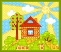 The house on hill patchwork picture сhildren illustration Royalty Free Stock Photography