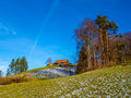 House on a hill small wooden switzerland Royalty Free Stock Images