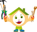 House holding tools illustration art of a happy Royalty Free Stock Images