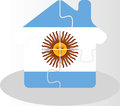 House home icon with argentinian flag in puzzle illustration of isolated on white background Stock Photos