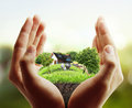 House in human hands business man Royalty Free Stock Images