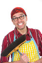 House husband angry with broom Stock Photos