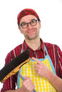 House husband kind with broom Stock Photos