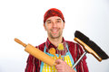 House husband kind with broom and kitchen tools Stock Images