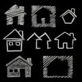House icon on blackboard Royalty Free Stock Photography