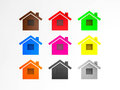 House icon d render image representing houses in different colors Stock Images