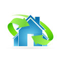 House icon green arrows Stock Image