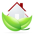 House icon with green leaves Royalty Free Stock Image