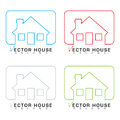 House icon outline set Royalty Free Stock Photos