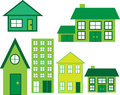 House Icons in green Royalty Free Stock Photos