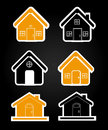 House icons over black background vector illustration Royalty Free Stock Photos