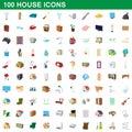 100 house icons set, cartoon style
