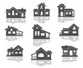 House icons set in grey and white with reflections for real estate design Stock Photos