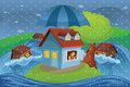 House insurance concept a vector illustration of in a flood for Royalty Free Stock Images